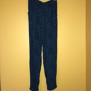 H&M navy blue patterned pants